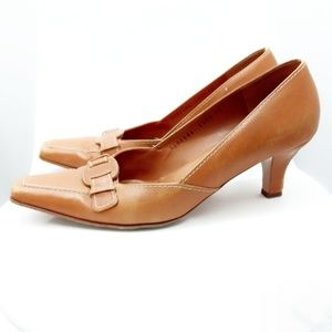 Salvatore Ferragamo Cognac Leather Pumps- Size 10